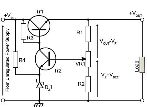 regulated power supplies rh learnabout electronics org ac voltage regulator circuit diagram voltage regulator circuit diagram 5v