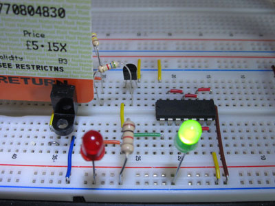Slotted Opto Switch on Breadboard